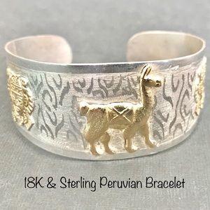 Jewelry - 18K Gold & Sterling Vintage Peruvian Cuff Bracelet